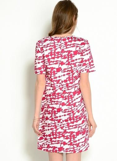 Asymmetry Kısa Kollu V Yaka Desenli Elbise Fuşya